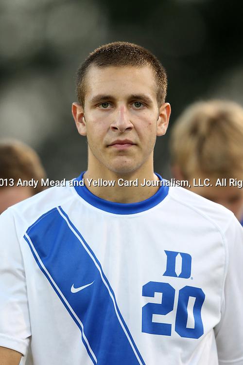 01 October 2013: Duke's Jared Golestani. The Duke University Blue Devils hosted the University of North Carolina Wilmington Seahawks at Koskinen Stadium in Durham, NC in a 2013 NCAA Division I Men's Soccer match. UNCW won the game 2-1.