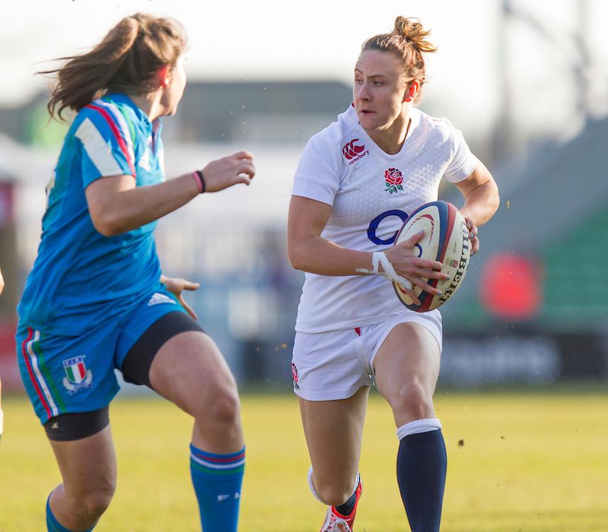 Sarah McKenna in action, England Women v Italy Women in Women's 6 Nations Match at Twickenham Stoop, Twickenham, England, on 15th February 2015. Final score 39-7.