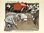Traffic accident caricature From the Book Das Narrenrad : Album fröhlicher Radfahrbilder [The fool's wheel: album of happy cycling pictures] by Feininger, Lyonel, 1871-1956, illustrator; Heilemann, Ernst, 1870- illustrator; Hansen, Knut, illustrator; Fürst, Edmund, 1874-1955, illustrator; Edel, Edmund, illustrator; Schnebel, Carl, illustrator; Verlag Otto Elsner, printer. Published in Germany in 1898