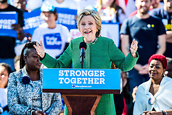 October 23, 2016 - Raleigh, North Carolina, U.S - Hillary Clinton campaigns with the Mothers of the Movement in Raleigh, NC.  The Raleigh Early Vote Event was held at St. Augustine's University.   Mothers of the Movement - women who lost their children to gun violence and in police-involved incidents campaigned in North Carolina with Hillary Clinton.  They highlighted her record of fighting for families and encourage residents to take advantage of one-stop early voting in this high-stakes election. (Credit Image: © Andy Martin Jr. via ZUMA Wire)