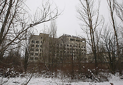 December 22, 2016 - Kiev, Ukraine - The hotel building in the deserted town of Pripyat,two kilometers from the Chernobyl nuclear power plant, Ukraine, on 22 December,2016. The explosion of Unit four of the Chernobyl nuclear power plant on 26 April 1986 is still regarded the biggest accident of nuclear power generation  in the history. (Credit Image: © Serg Glovny via ZUMA Wire)