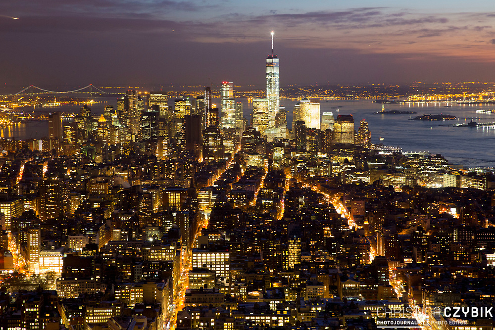 View over in Manhattan, New York, from the Empire State Building at Night