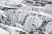 Detail of ice crevasses at Columbia Glacier, Alaska.