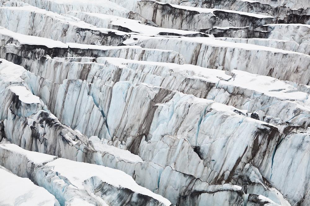 Detail of ice crevasses at Columbia Glacier, Alaska.