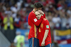 (L-R) Gerard Pique of Spain, Andres Iniesta of Spain during the 2018 FIFA World Cup Russia round of 16 match between Spain and Russia at the Luzhniki Stadium on July 01, 2018 in Moscow, Russia