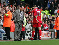 An Unhappy Rafael Benitez Manager can't bear to look at (Captain) Steven Gerrard after sending off<br />Liverpool 2005/06<br />Liverpool V Everton 25/03/06 at Anfield<br />The Premier League<br />Photo Robin Parker Fotosports International