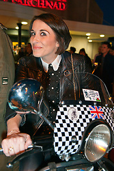 © Licensed to London News Pictures. 04/03/2014. Brynmawr, Blaenau, Gwent.  Vicky McClure tries out one of the motor scooters which have arrived for the premiere. Merthyr Tydfil's very own Jonny Owen premieres his latest film SVENGALI, co-starring Vicky McClure, which was shot on location in the Welsh mining valleys. The premiere is held at the oldest independent cinema in Wales – The Market Hall Cinema in Brynmawr. Photo credit : Graham M. Lawrence/LNP