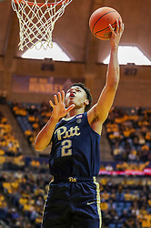 Dec 8, 2018; Morgantown, WV, USA; Pittsburgh Panthers guard Trey McGowens (2) shoots in the lane during the first half against the West Virginia Mountaineers at WVU Coliseum. Mandatory Credit: Ben Queen-USA TODAY Sports