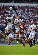 England's Mike Brown collects a high ball during the The Old Mutual Wealth Cup match England -V- Wales at Twickenham Stadium, London, Greater London, England on Sunday, May 29, 2016. (Steve Flynn/Image of Sport)