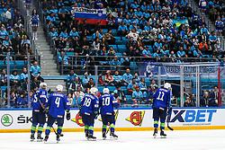 Players of Slovenia celebrate during ice hockey match between Slovenia and Kazakhstan at IIHF World Championship DIV. I Group A Kazakhstan 2019, on April 29, 2019 in Barys Arena, Nur-Sultan, Kazakhstan. Photo by Matic Klansek Velej / Sportida
