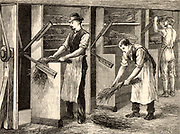 Scutching or dressing flax by beating the stalks by machine. The long fibres of the stem Flax plant (Linum) were processed to produce linen.  Engraving from 'Great Industries of Great Britain' (London, c1880).