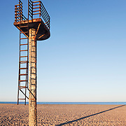 A rusting lifeguard tower on an empty beach near Almeria, Spain.<br /> <br /> LICENSING: This image can be licensed through SpacesImages. Click on the link below:<br /> <br /> http://tinyurl.com/blel2pj