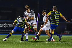 Richie Gray of Toulouse is tackled by Josh Turnbull of Cardiff Blues - Mandatory by-line: Craig Thomas/JMP - 14/01/2018 - RUGBY - BT Sport Cardiff Arms Park - Cardiff, Wales - Cardiff Blues v Toulouse - European Rugby Challenge Cup
