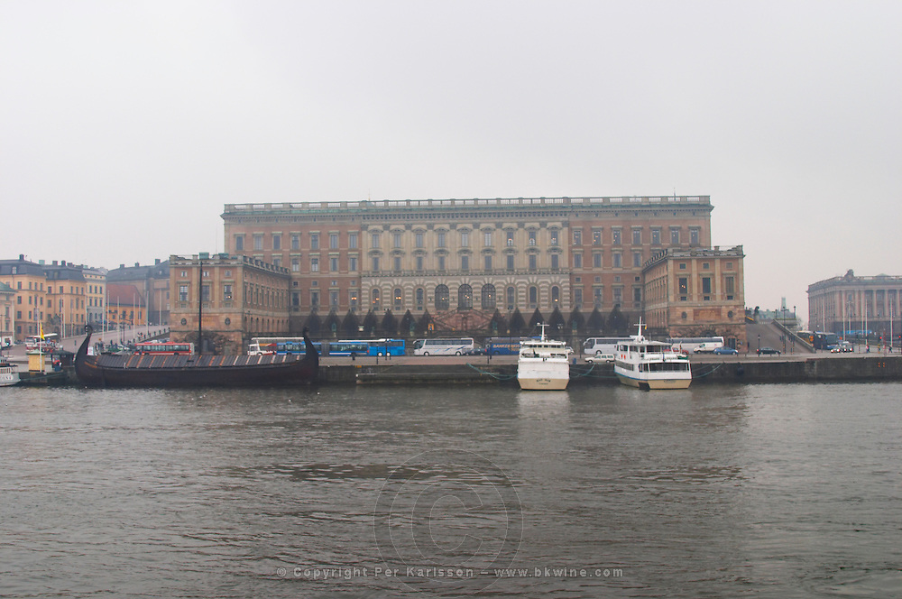The Swedish Royal Palace in the Gamla Stan, Old Town. In foggy winter weather. Stockholm. Sweden, Europe.