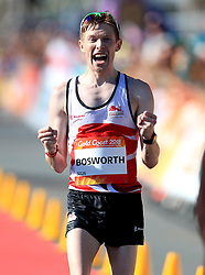 England's Tom Bosworth celebrates taking silver in the Men's 20km Race Walk Final at Currumbin Beachfront during day four of the 2018 Commonwealth Games in the Gold Coast, Australia.