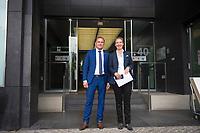 Berlin, 27.09.2021: Die beiden Spitzenkandidaten der AfD zur Bundestagswahl, Tino Chrupalla und Alice Weidel, vor der Bundespressekonferenz.