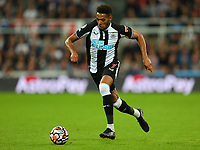 NEWCASTLE UPON TYNE, ENGLAND - SEPTEMBER 17: Joelinton of Newcastle United brings the ball forward during the Premier League match between Newcastle United and Leeds United at St. James Park on September 17, 2021 in Newcastle upon Tyne, England. (Photo by MB Media)