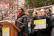 "New York City councilwoman Letitia A. ""Tish"" James speaks to the rally."