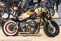 Custom Harley-Davidson Shovelhead at the Custom and Tuning Show, which was part of the big Motor Spring show in Moscow, Russia. Friday April 21, 2017. Photography ©2017 Michael Lichter.
