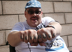 13 August 2017  : Premier League Football : Newcastle United v Tottenham Hotspur:  a Newcastle fan proudly shows off his NUFC tattoos: Photo: Mark Leech