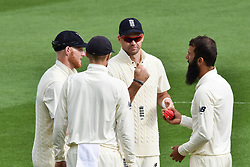 March 23, 2018 - Auckland, Auckland, New Zealand - From Left to Right: Ben Stokes, Joe Root, Alastair Cook , Moeen Ali of England during Day Two of the First Test match between New Zealand and England at Eden Park in Auckland on Mar 23, 2018. (Credit Image: © Shirley/Pacific Press via ZUMA Wire)