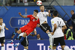July 3, 2017 - Saint Petersburg, Russia - Pablo Hernandez (#10) of Chile national team and Shkodran Mustafi (#2) of Germany national team vie for a header during FIFA Confederations Cup Russia 2017 final match between Chile and Germany at Saint Petersburg Stadium on July 2, 2017 in Saint Petersburg, Russia. (Credit Image: © Mike Kireev/NurPhoto via ZUMA Press)