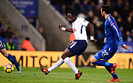Moussa Sissoko of Tottenham takes a shot on goal .Premier league match, Leicester City v Tottenham Hotspur at the King Power Stadium in Leicester, Leicestershire on Tuesday 28th November 2017.<br /> pic by Bradley Collyer, Andrew Orchard sports photography.