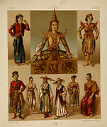 Traditional Asian fashion, accessories and lifestyle from Geschichte des kost?ms in chronologischer entwicklung (History of the costume in chronological development) by Racinet, A. (Auguste), 1825-1893. and Rosenberg, Adolf, 1850-1906, Volume 2 printed in Berlin in 1888