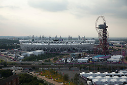 © Licensed to London News Pictures. 12/08/2012. LONDON, UK. The Olympic Stadium and ArcelorMittal Orbit are seen ahead of the the closing ceremony of the 2012 Summer Olympics is seen in London today (12/08/12). The Games of the 30th Olympiad today come to a close in London after two weeks of athletics and sports competition carried out by 204 countries from around the world. Photo credit: Matt Cetti-Roberts/LNP