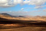 Landscape view inland from Caleta de Fuste, Fuerteventura, Canary Islands, Spain