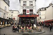 Frankrijk, Parijs, 28-3-2010Restaurant, brasserie,cafe, bij het Place du Tertre in montmartre waar kunstenaars en schilders hun kunst verkopen .Foto: Flip Franssen/Hollandse Hoogte