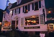 Usa, Newport RI - Front view of the open air dining at the Clarke Cooke House Restaurant located on Bannister's Wharf..