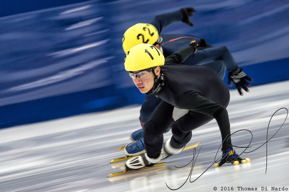 March 20, 2016 - Verona, WI - Matthew Chen, skater number 176 competes in US Speedskating Short Track Age Group Nationals and AmCup Final held at the Verona Ice Arena.