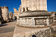 Picture of a close up of a column base at the ruins of the Ancient Ionian Greek  Didyma Temple of Apollo & home to the Oracle of Apollo.  Also known as the Didymaion completed circa 550 BC. modern Didim in Aydin Province, Turkey. .<br /> <br /> If you prefer to buy from our ALAMY PHOTO LIBRARY  Collection visit : https://www.alamy.com/portfolio/paul-williams-funkystock/didyma-temple-turkey.html<br /> <br /> Visit our TURKEY PHOTO COLLECTIONS for more photos to download or buy as wall art prints https://funkystock.photoshelter.com/gallery-collection/3f-Pictures-of-Turkey-Turkey-Photos-Images-Fotos/C0000U.hJWkZxAbg