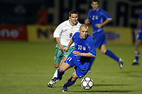 Fotball<br /> Kvalifisering til EM 2004<br /> 12.10.2003<br /> Hellas v Nord Irland<br /> Foto: Digitalsport<br /> Norway Only<br /> <br /> FOOTBALL - EURO 2004 - QUALIFICATIONS - GROUP 6 - GREECE v NORTH IRELAND - 031011 - STYLIANOS GIANNAKOPOULOS (GRE) / DAVID HEALY (IRE) - PHOTO JEAN MARIE HERVIO