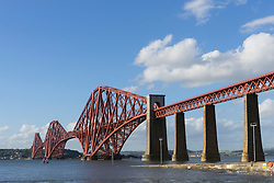 View of Forth Rail Bridge crossing the River Forth from South Queensferry in Scotland United Kingdom
