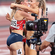 TOKYO, JAPAN August 3: Silver medal winner Keely Hodgkinson of Great Britain is embraced by Alexandra Bell of Great Britain after the Women's 800m Final at the Olympic Stadium during the Tokyo 2020 Summer Olympic Games on August 3rd, 2021 in Tokyo, Japan. (Photo by Tim Clayton/Corbis via Getty Images)