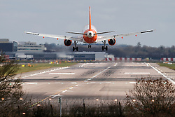© Licensed to London News Pictures. 29/02/2016. Gatwick, UK. An easyJet Plane taking off on a reserve runway at Gatwick Airport in West Sussex, where the main runway has been closed due to a spillage. The main runway remains closed to all flights. Photo credit: Peter Macdiarmid/LNP