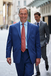 © Licensed to London News Pictures. 12/06/2016. London, UK. UKIP Leader NIGEL FARAGE arrives at BBC Broadcasting House in London to appear on The Andrew Marr show on BBC One on Sunday, 12 June 2016. Photo credit: Tolga Akmen/LNP