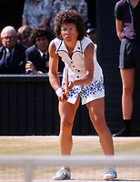 Billie Jean King  - USA Wimbledon Tennis Championships 1975.Dress design by Teddy Tinling.  Credit Colorsport / Andrew Cowie