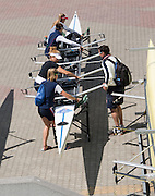 Poznan. Poland. FRA W4X palce their boat in the slings. FISA 2015 European Rowing Championships. Venue Lake Malta. 28.05.2015. [Mandatory Credit: Peter Spurrier/Intersport-images.com]