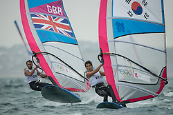 31.07.2012, Bucht von Weymouth, GBR, Olympia 2012, Windsurfen, im Bild RS:X Men, Dempsey Nick (GBR), Lee Tae Hoon (KOR) . EXPA Pictures © 2012, PhotoCredit: EXPA/ Juerg Kaufmann ***** ATTENTION for AUT, CRO, GER, FIN, NOR, NED, POL, SLO and SWE ONLY!