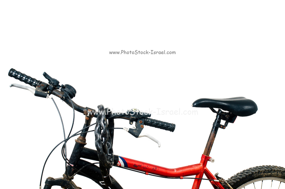 Old, used and slightly rusty bicycle On white Background
