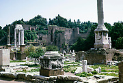 Ancient ruins of the Roman forum, Rome, Italy in 1974