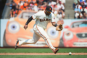 San Francisco Giants third baseman Pablo Sandoval (48) chases down a ground ball against the Philadelphia Phillies at AT&T Park in San Francisco, California, on August 20, 2017. (Stan Olszewski/Special to S.F. Examiner)