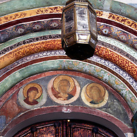 Europe, Russia, Suzdal. Painted entry of Church of the Nativity.