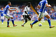 Fulham Striker Sheyi Ojo (19) sprints forward during the EFL Sky Bet Championship match between Ipswich Town and Fulham at Portman Road, Ipswich, England on 26 August 2017. Photo by Phil Chaplin.