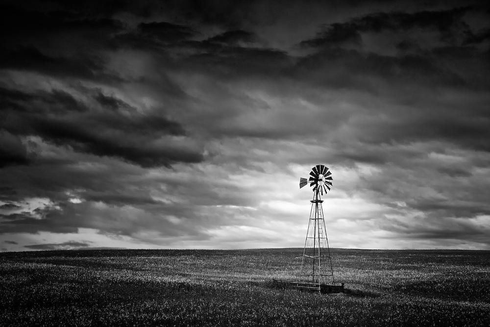 A majestic windmill stand tall undr a stormy sky north of Cochrane