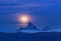 Super moon over the Grand Tetons.  This is the Idaho side of the mountains. A different view of the Grand Tetons from Teton Valley, but no less Grand.