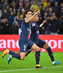 PSG's Edinson Cavani during the Ligue 1 match Paris Saint Germain v Olympique Lyonnais at Parc des Princes on September 17, 2017 in Paris, France. One of the big talking points from the match was the apparent tension between Cavani and the world's most expensive player, Neymar. Cavani won an argument to take a penalty, only to then miss it, while Dani Alves got involved in a disagreement over a free-kick and gave the ball to his fellow Brazilian Neymar. Photo by Christian Liewig/ABACAPRESS.COM